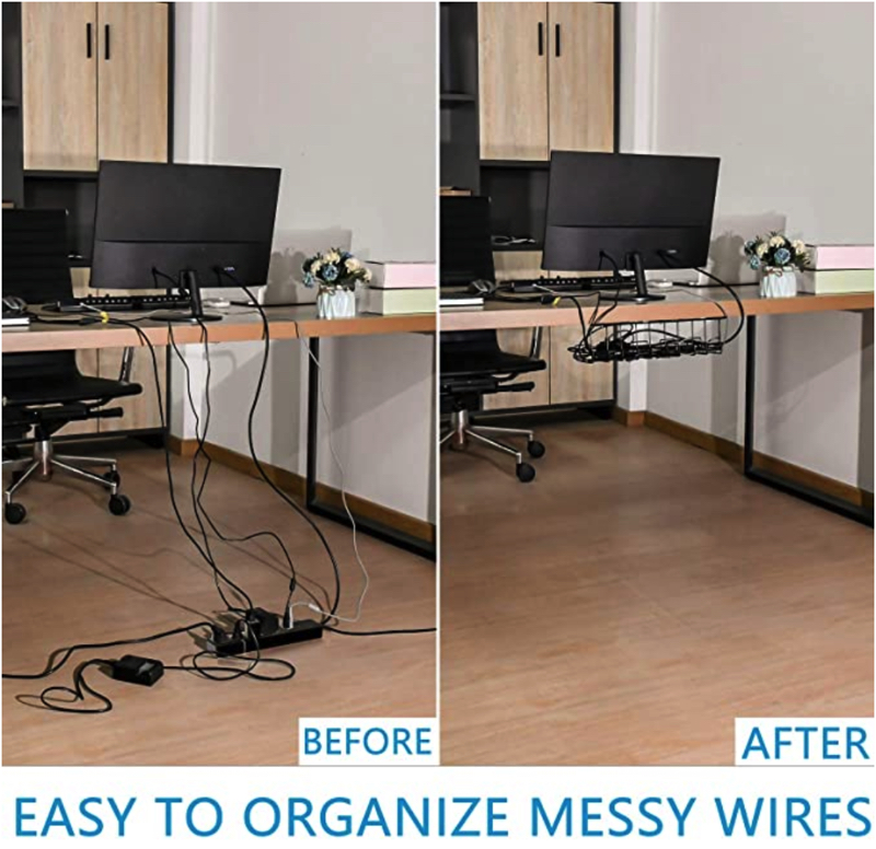 How to hide monitor cables under desk
