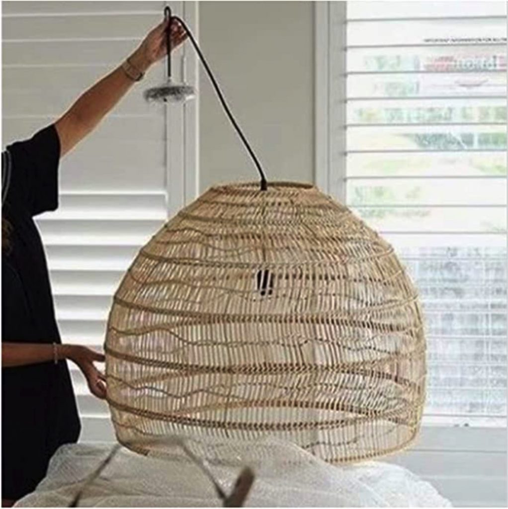 Large white woven chandelier