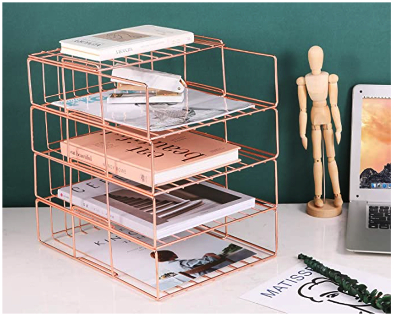 Rose gold paper tray for decorating home office