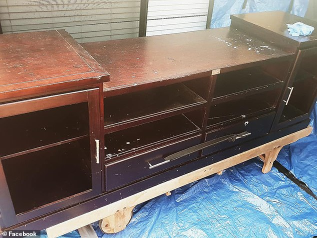 Upcycled TV Cabinet before