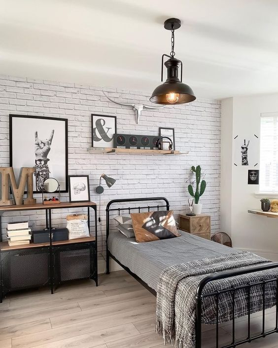 Wall decor for teenage guy_white brick wall paper