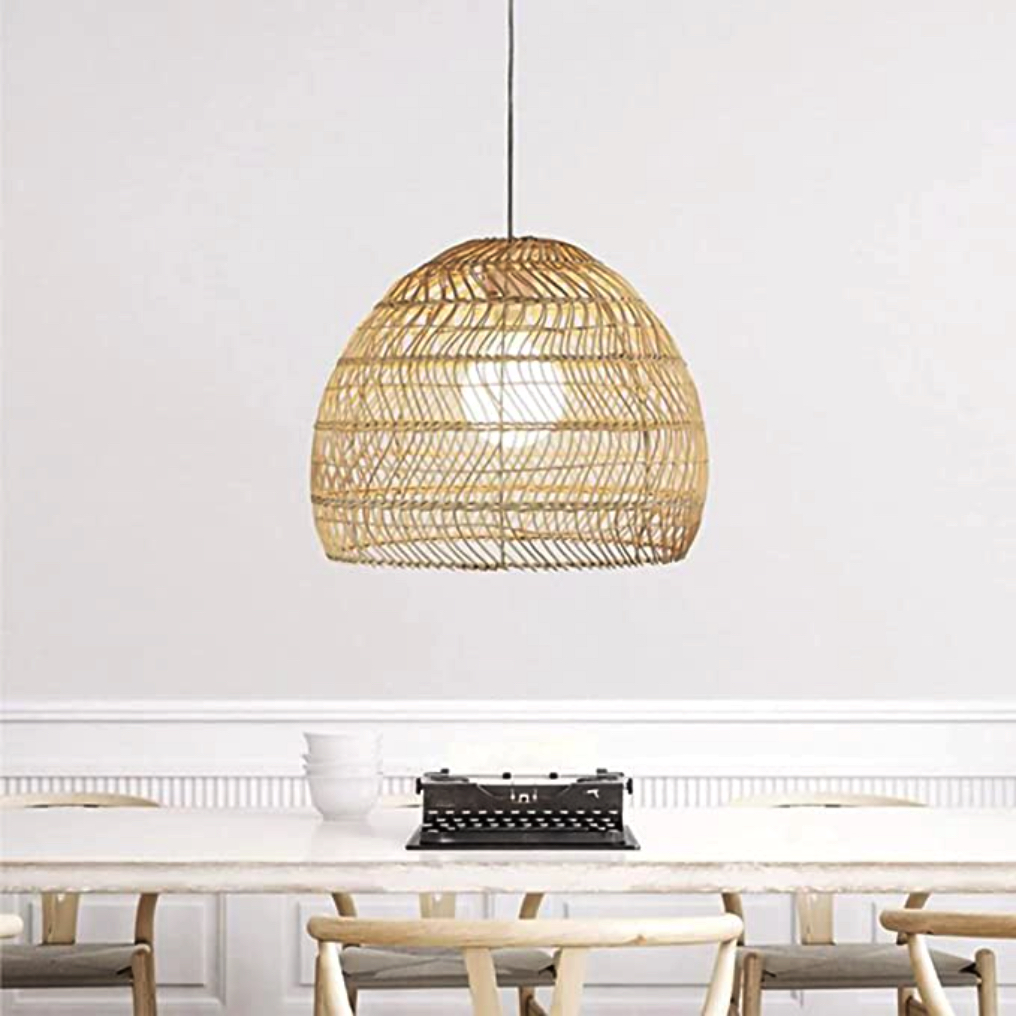 White woven chandelier bamboo