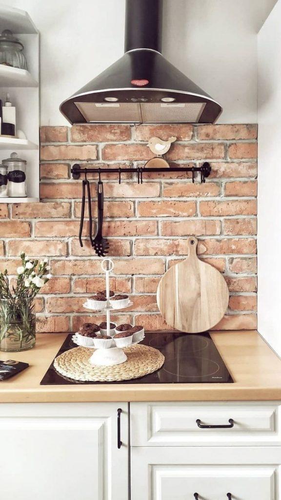 brick walls in kitchen