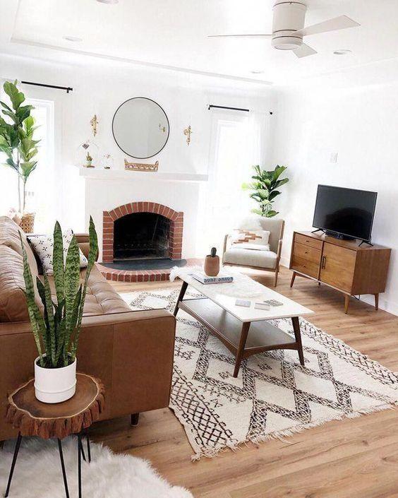 cozy mid-century modern living room