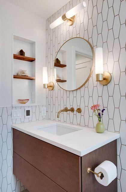 mid century modern shower tile