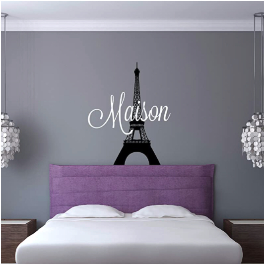 Paris themed bedroom wall decal for teen