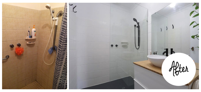 painting bathroom tiles before and after